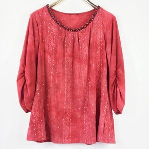 TieDye Rhinestone Shirt 3/4 Sleeve Red Silver